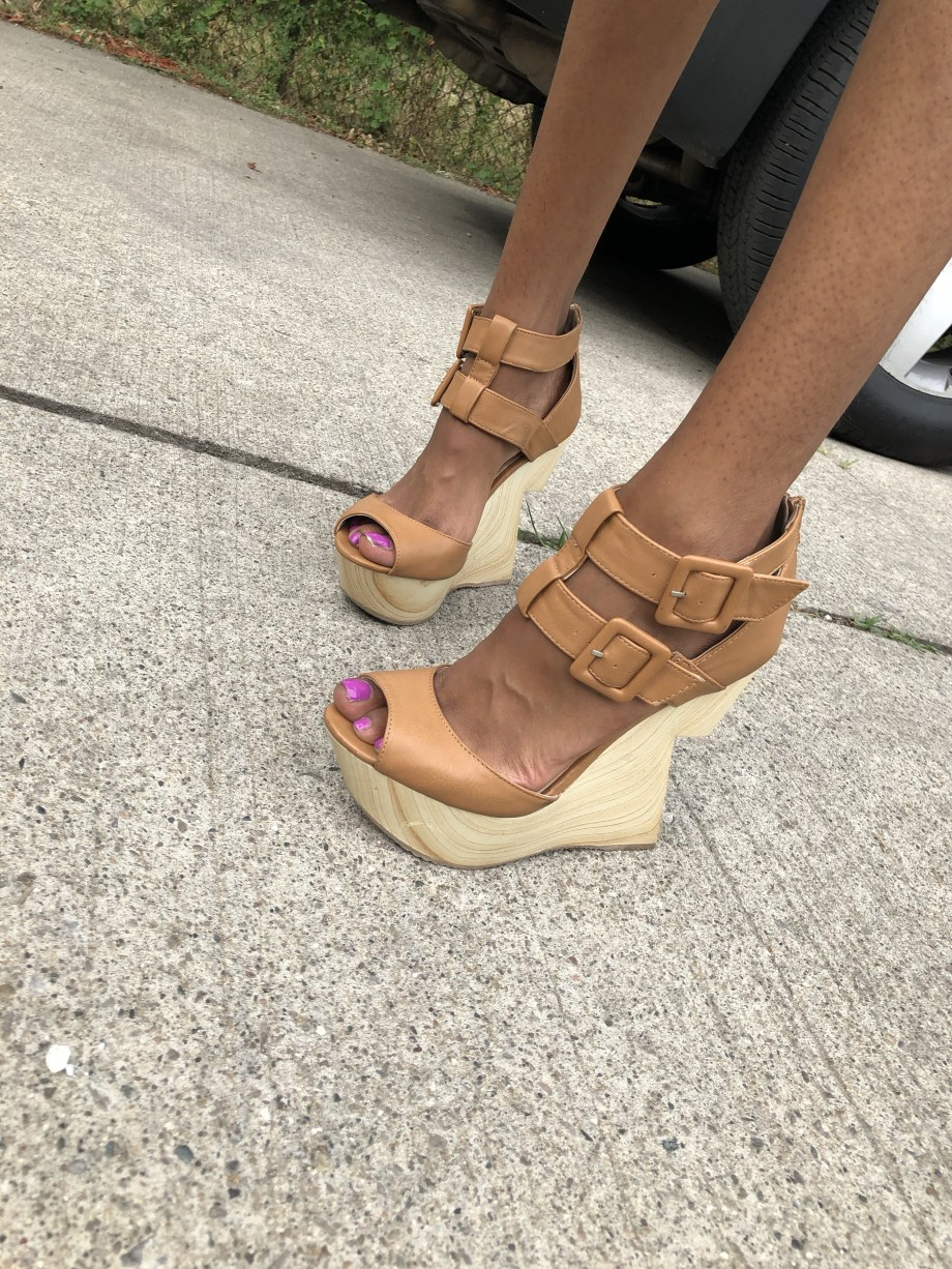 Charlotte Russe Nude Constructed Wedges