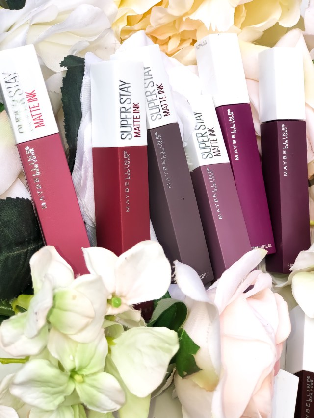 Maybelline SuperStay Matte Ink Liquid Lipstick Swatches on Dark Skin: 15 Lover, 40 Beliver, 45 Escapist, 50 Voyager, 70 Amazonian, 75 Fighter, 80 Ruler, 85 Protector, 90 Huntress, 95 Visionary