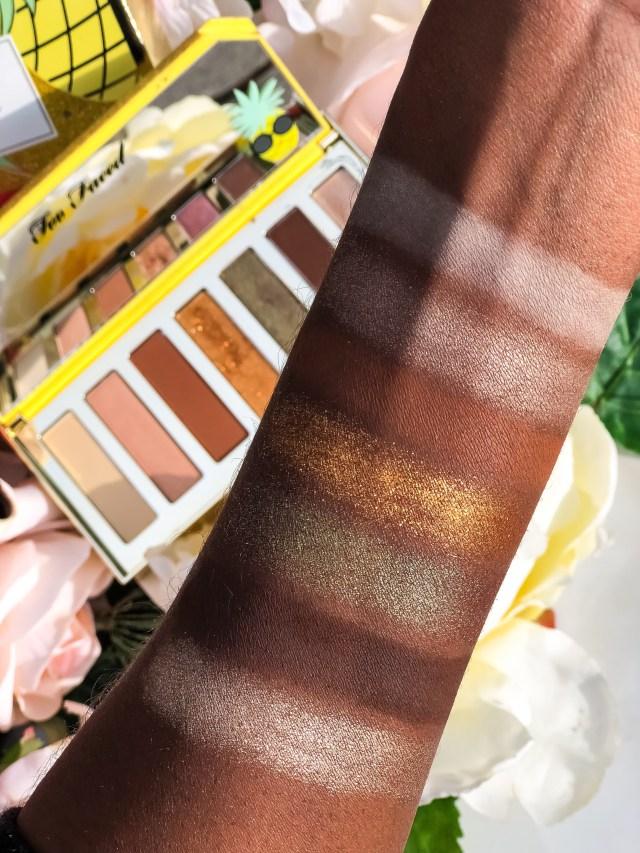 Too Faced Tutti Frutti Sparkling Pineapple Palette Swatches on Dark Skin