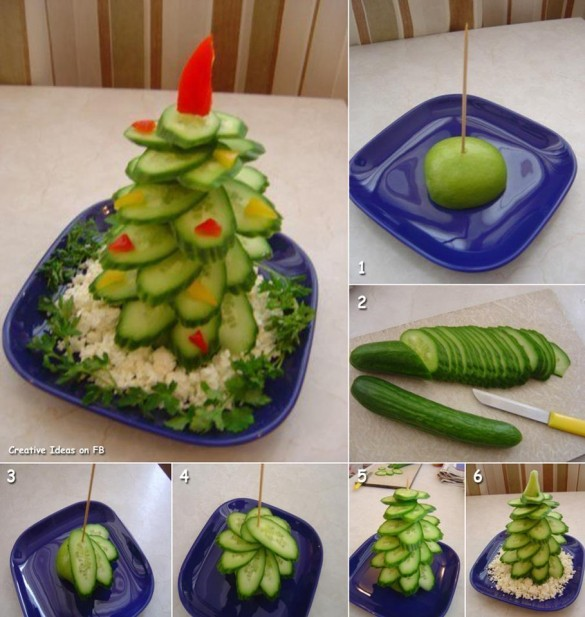Christmas tree plate arrangement from cucumbers