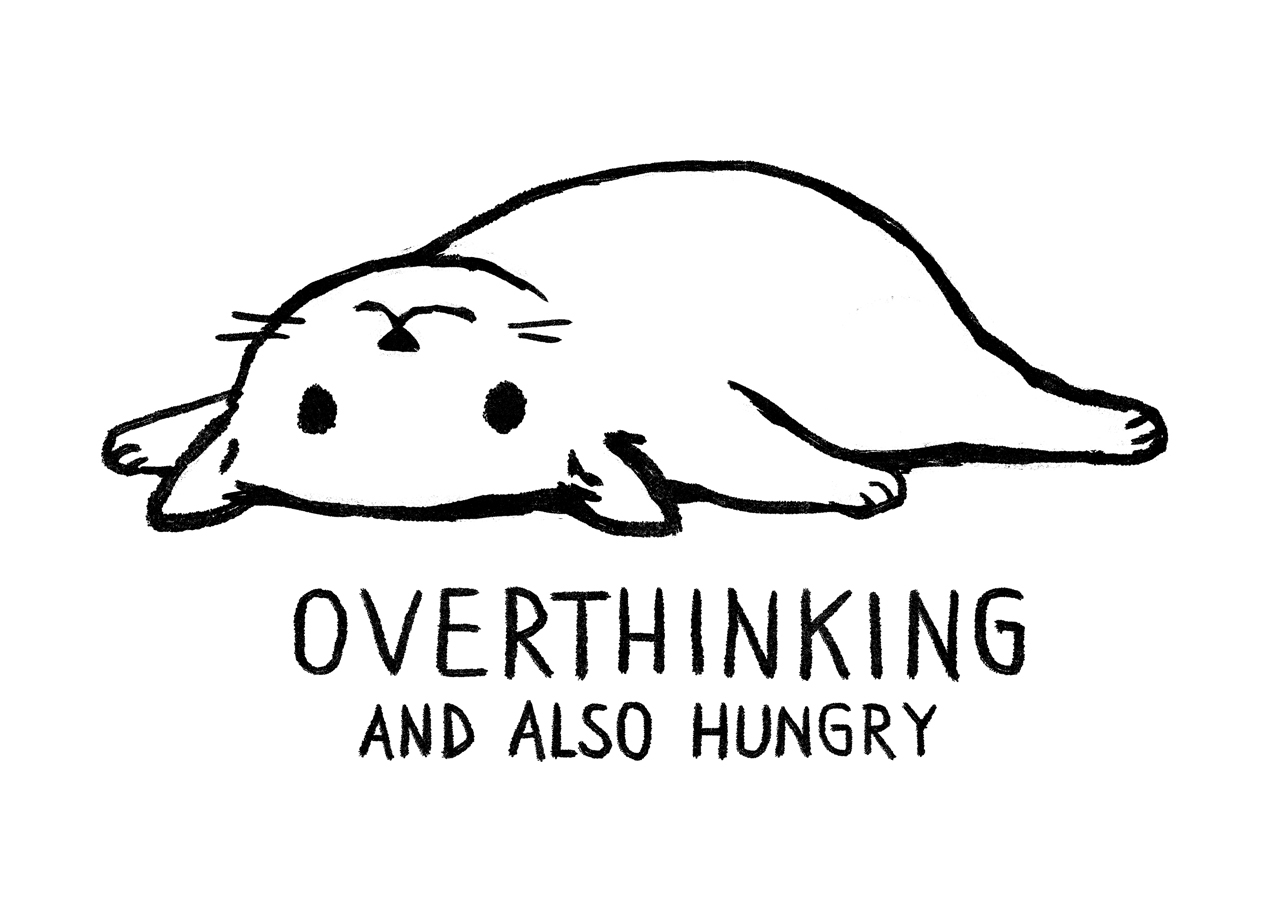 Overthinking And Also Hungry T Shirt Design By Fox Shiver