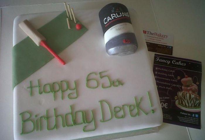 Cricket Beer Themed 65th Birthday Cake Fancycakesbenidorm