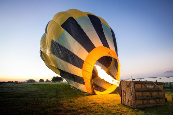 firing up a hot air balloon