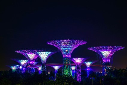 Big-Purple-Light-Constructions-with-the-Clear-Sky-as-a-Background