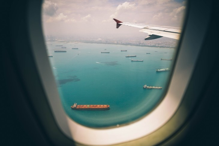 Boats-in-Singapore-Pictured-from-the-Window-of-an-Airplane
