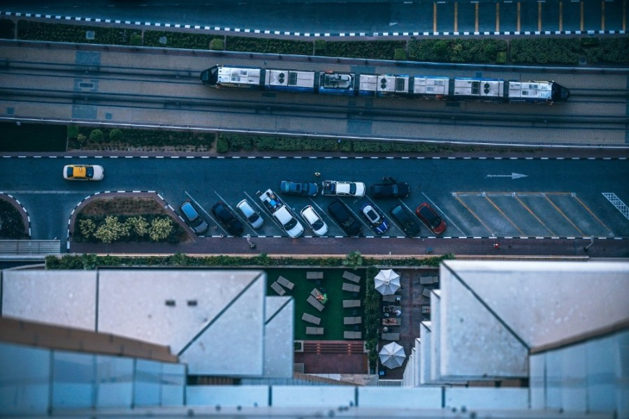 Downwards-View-from-the-66th-Floor-Looking-at-Cars-and-Train