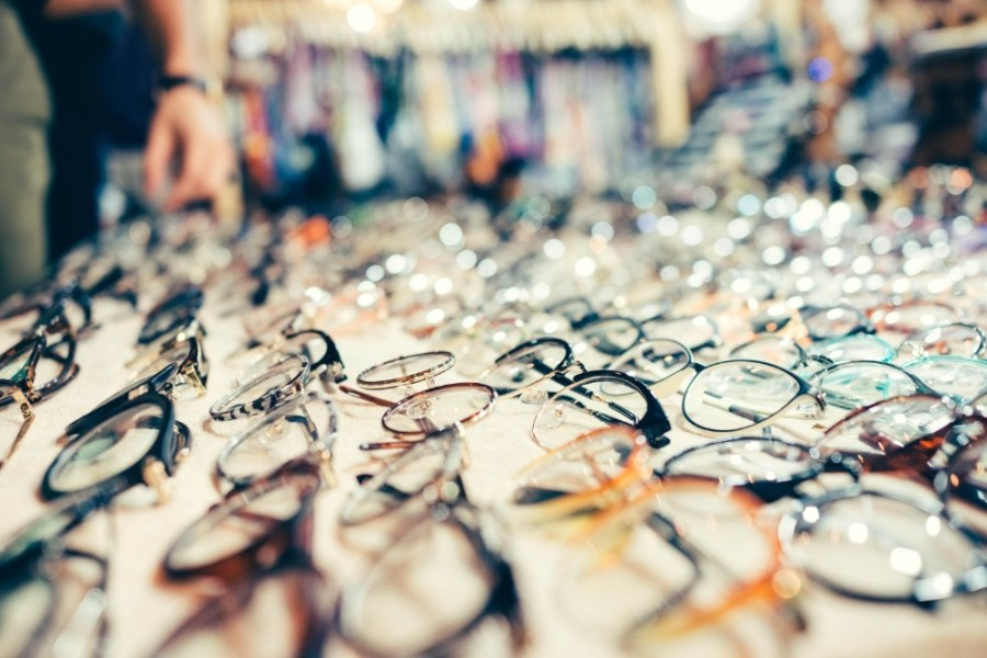 Many-Different-Eyeglasses-Presented-on-a-White-Sheet-for-Sale