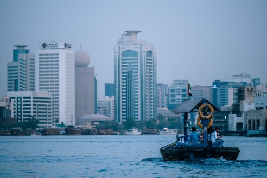 Small-Passenger-Boat-in-the-Dubai-Canal-at-Dawn