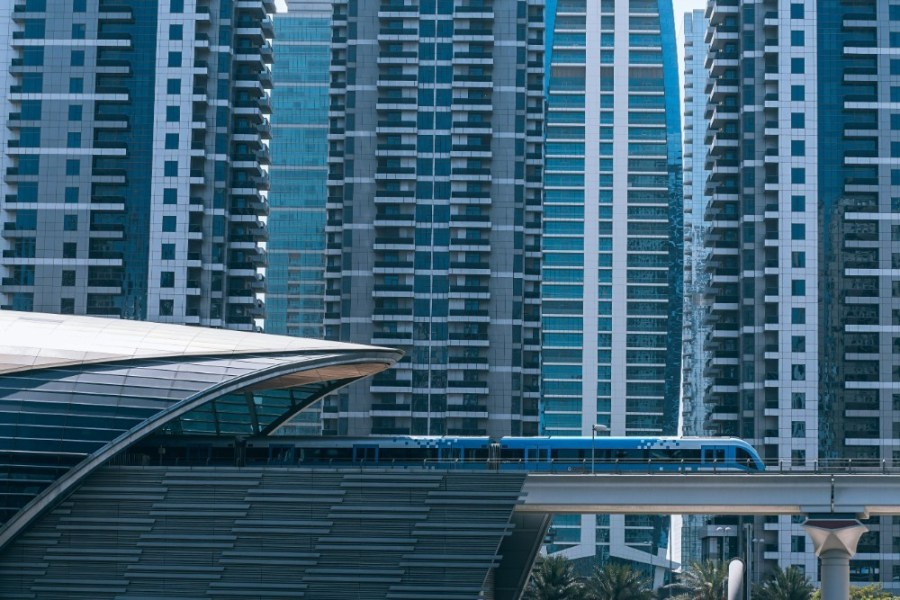 Train-Moving-in-front-of-Tall-Buildings-in-Dubai-UAE