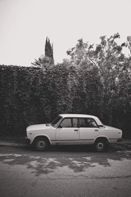 Black-and-White-Photography-of-a-Lada-Parked-on-the-Streets