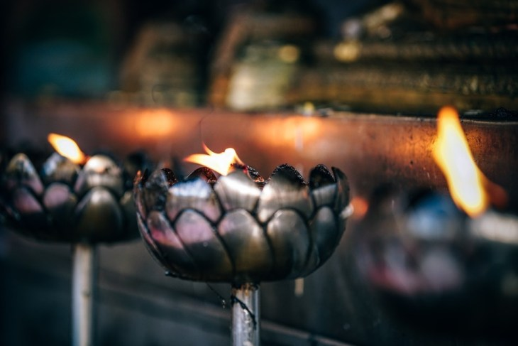 Candle-Prayers-in-a-Thai-Temple