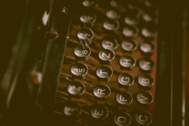 Close-up-Shot-of-a-Vintage-Typewriter