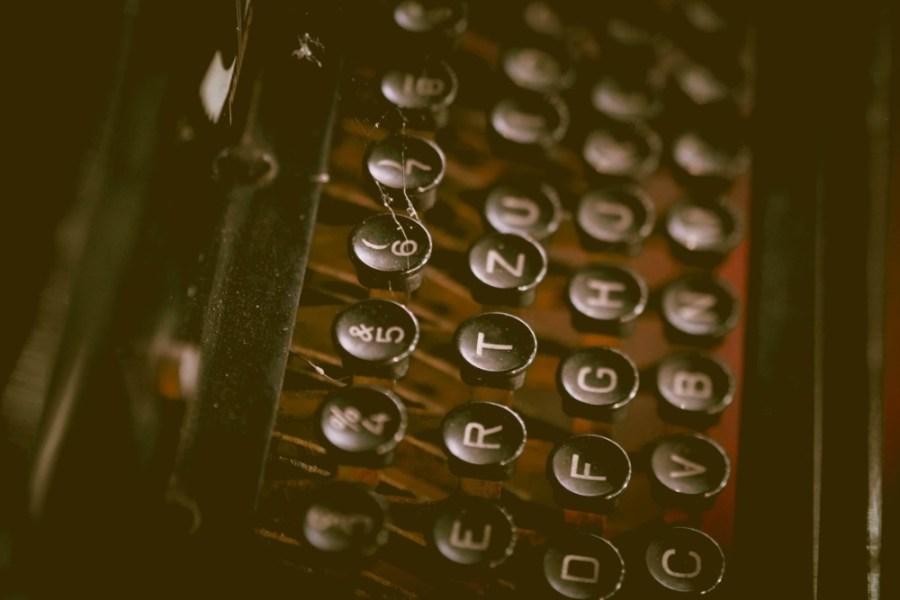 Close-up-Shot-of-a-Vintage-Typewriter