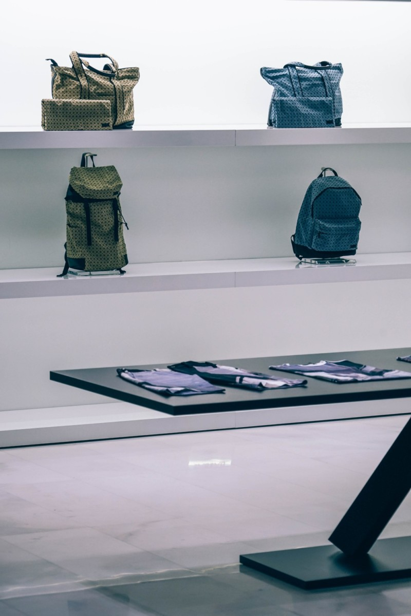 Designer-Backpacks-on-White-Shelves