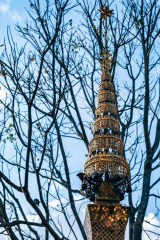Golden-Tip-of-Doi-Suthep-Temple-with-Bare-Trees-in-the-Background