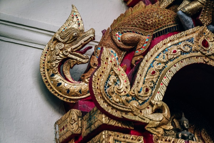 Incredible-Detail-on-a-Golden-Dragon-statue-at-Doi-Suthep-Temple