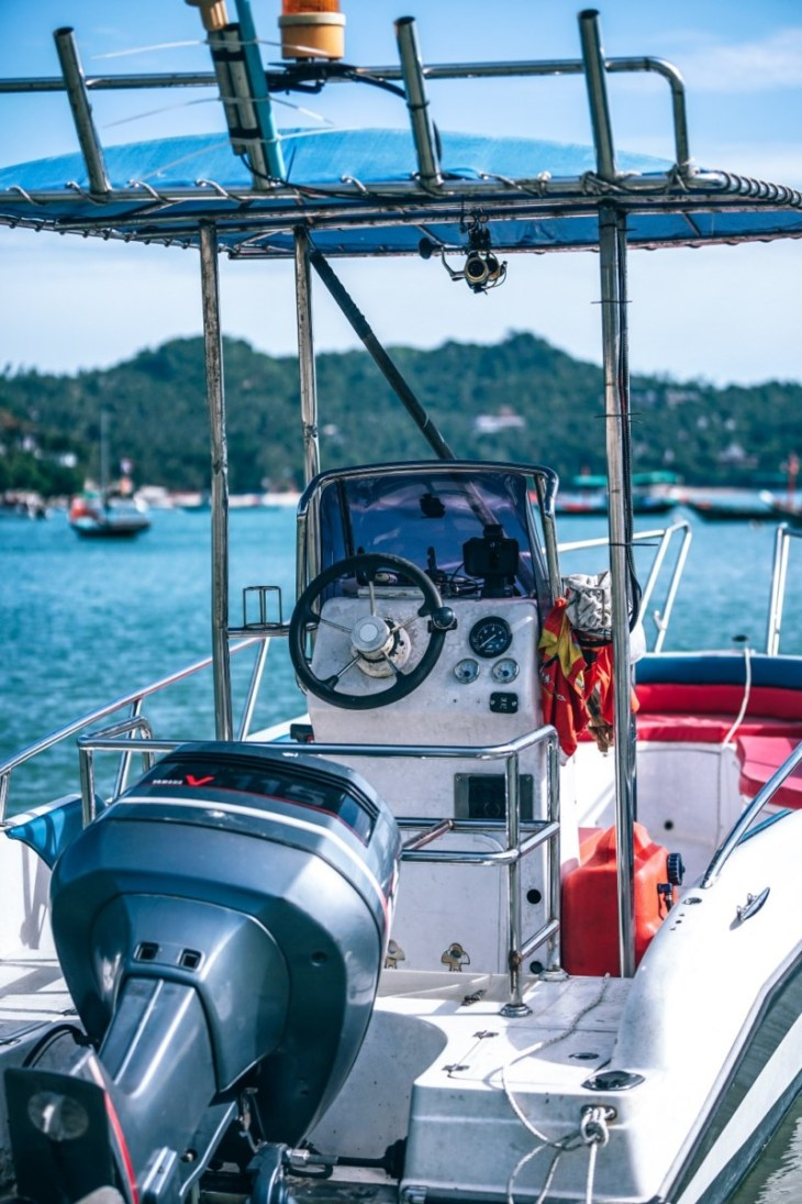 The-Helm-of-a-Speedboat-Ready-to-Drift-Away