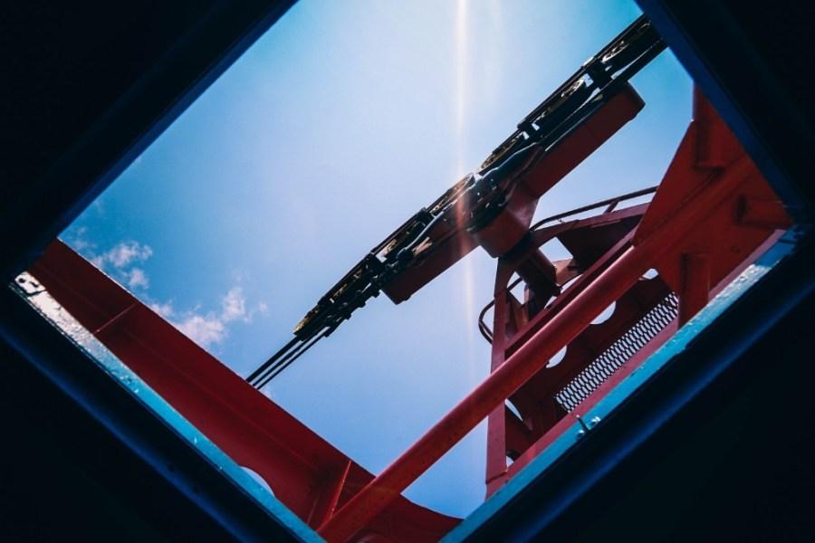 Upwards-View-of-a-Red-Roller-Mechanism
