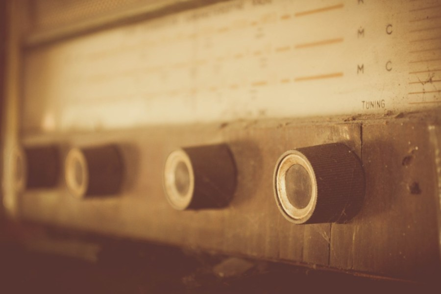 Vintage-Radio-Player-Photographed-in-a-Sepia-Tone