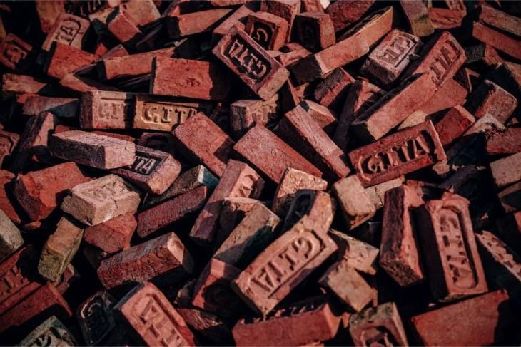 Close-up-Shot-of-Orange-Construction-Bricks
