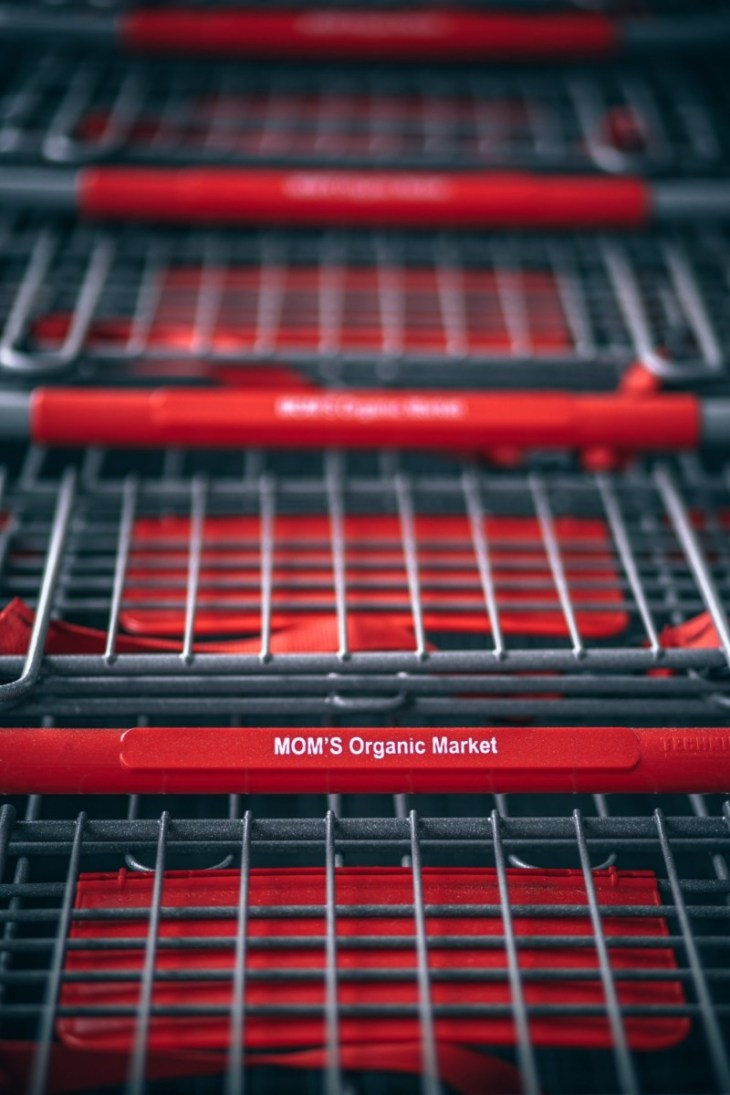 Close-up-Shot-of-Stacked-Shopping-Carts