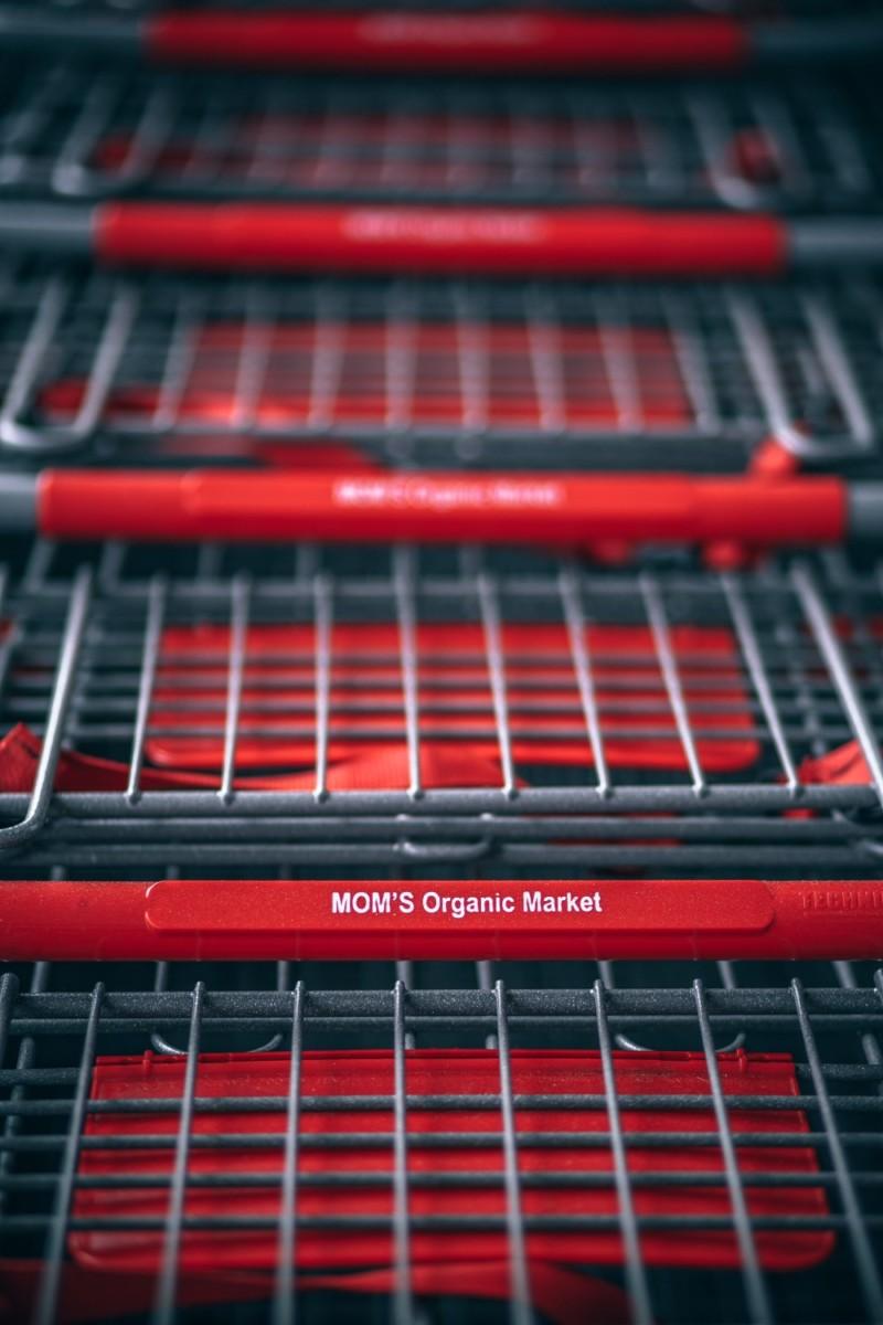 Close-up-Shot-of-Stacked-Shopping-Carts