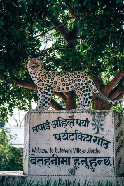 Leopard-Statue-Welcoming-Visitors-to-the-Betahani-Village-in-Nepal