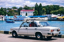 Old-White-Lada-Parked-by-the-Bay-in-Sevastopol