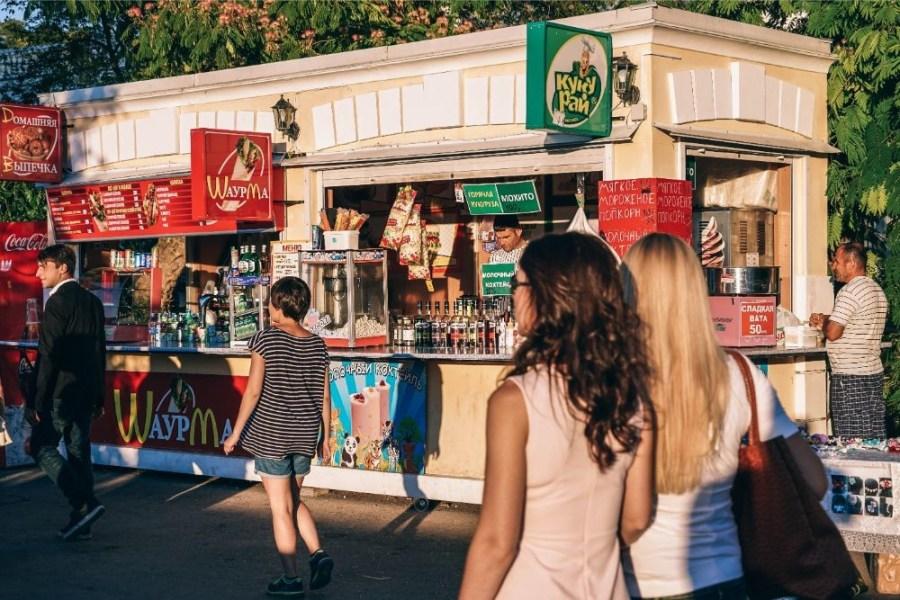 People-Passing-by-Street-Food-Shops-in-Sevastopol