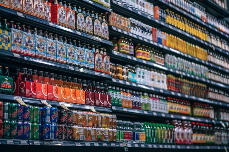 Shelves-Full-of-Organic-Drinks-at-a-Grocery-Store