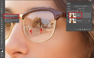 remove glare from photo glasses healing brush tool