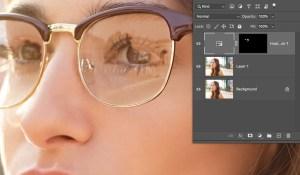 remove glare from photo glasses invert layer mask