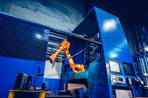 robotic arm in a factory modern heavy industry mac XZBCD