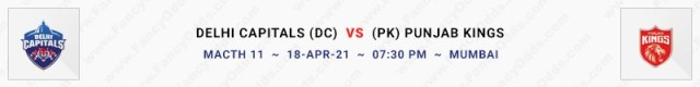 Match No 11. Delhi Capitals vs Punjab Kings (DC Vs PK)