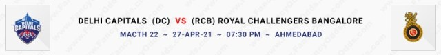 Match No 22. Delhi Capitals vs Royal Challengers Bangalore (DC Vs RCB)