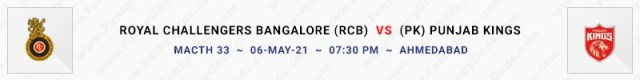 Match No 33. Royal Challengers Bangalore vs Punjab Kings (RCB Vs PK)