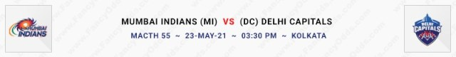 Match No 55. Mumbai Indians vs Delhi Capitals (MI Vs DC)