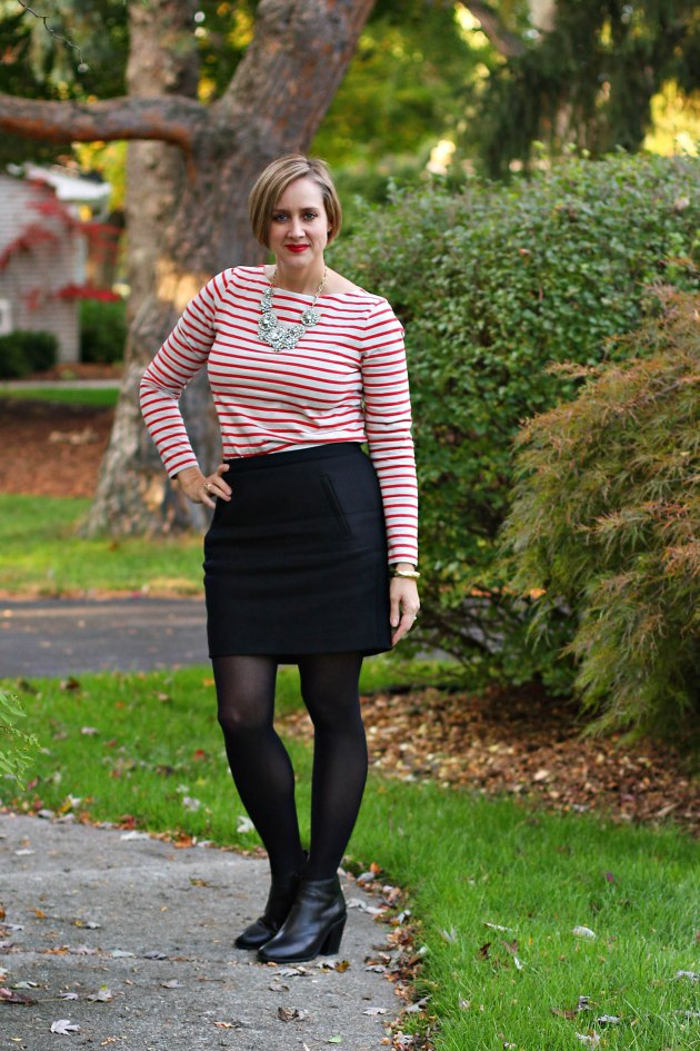 J. Crew red and ecru striped sailor shirt, J. Crew black Wool Zip Mini, statement necklace, Loeffler Randall black Emma booties, red lips, over 40 fashion blogger, 40 + fashion blogger, 40 + personal style blogger