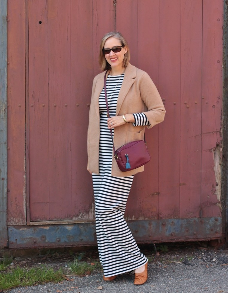 long sleeved stripe maxi dress and a camel colored cardigan for fall, 40+ style blogger, 40 + fashion blogger