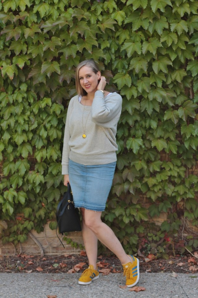 comfy fall outfit, oversized sweatshirt, denim skirt, gazelles, 40 + style blogger, 40 + fashion blogger