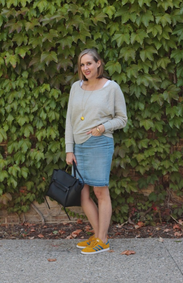 J crew wide neck sweatshirt for fall, adidas yellow and blue gazelles, 40+ style blogger, 40+ fashion blogger