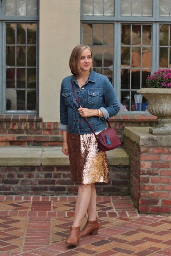 pink sequin skirt, denim jacket for fall, over 40 style blogger, over 40 fashion blogger