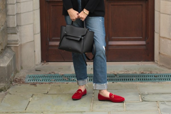 red velvet gucci loafers, black celine belt bag, 40 + style blogger
