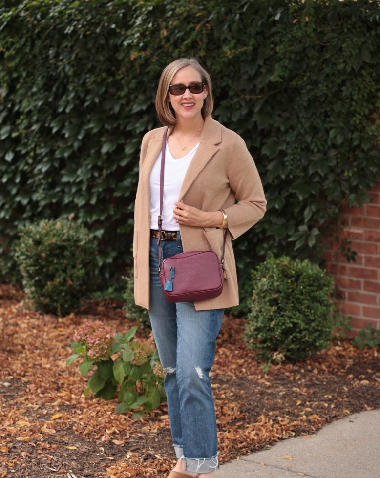 camel colored j. crew cardigan, distressed denim, camel colored mules, over 40 style blogger, over 40 fashion blogger