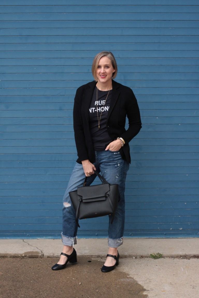 graphic tee with a sweater blazer, 40 + style blogger, 40 + fashion blogger, Detroit blogger,