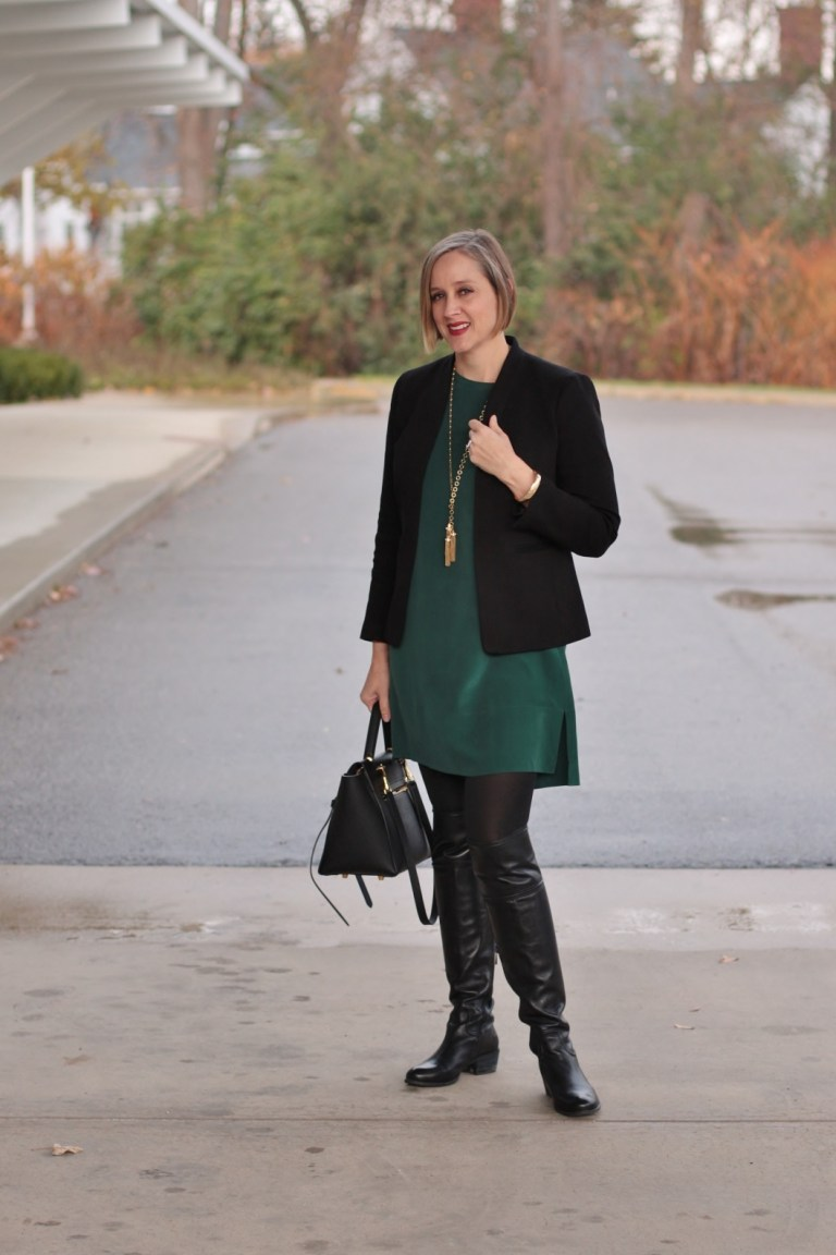 Black blazer over a forest green silk dress from Grana, over 40 style blogger, over 40 fashion blogger, Detroit blogger