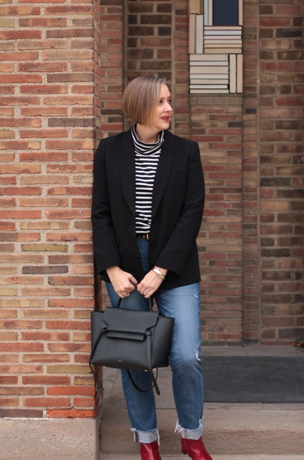 Zara red boots with distressed denim and black and white stripes, over 40 style blogger