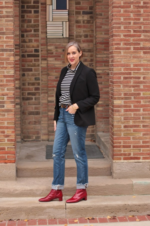 Red boots with distressed denim and a blazer, over 40 style blogger, Detroit blogger