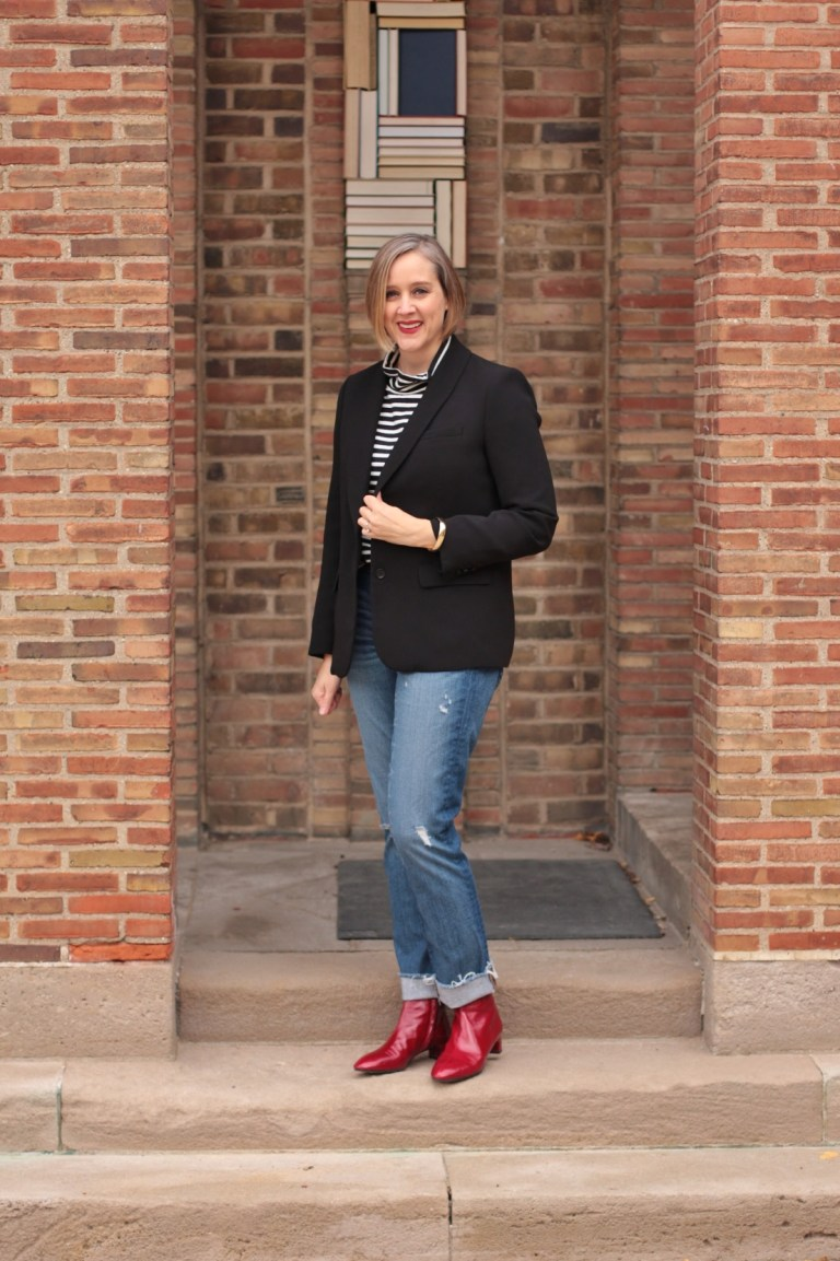 how to wear red boots, 40 + style blogger, 40 + fashion blogger