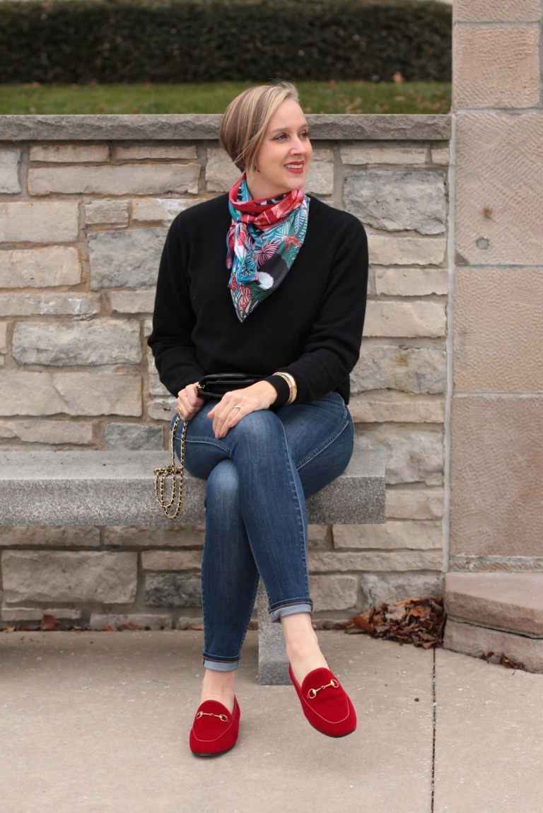 bright patterned scarf with black sweater